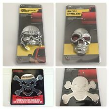 (4pcs) Bully Skull Stainless Chrome 3-D Decal Emblem & 3m Adhesive Chevy Truck's