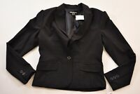 women's CoCo Couture black blazer size 8 v-neck one button lined polyester mix