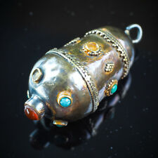 1900s Antique 14K Gold Sterling Silver Old carnelian Turquoise Gypsy Pendant