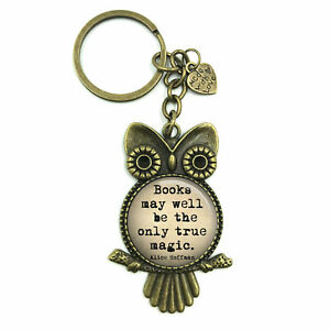 Book Quote Keyring Keychain, Book Quotes Owl Bird Keychain, Literacy gift,Gif...
