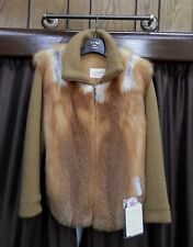 "Natural Canadian Red Fox 26"" Jacket with Dark Gold Knit Sleeves - Size 8"