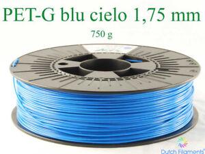 Bobina da 750g di filamento Pet-G 1,75mm blu cielo RAL 5015 per stampanti 3D nuo