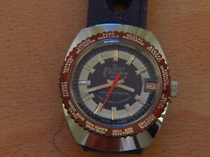 Watch DUXOT Swiss Made Vintage NOS New Date Rubber Ralie Band worldtime Blue