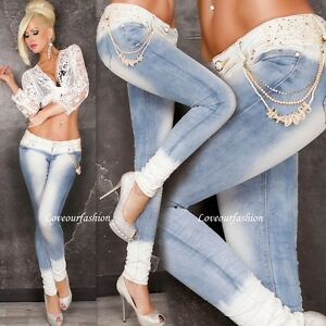 Sexy Women Denim Lady Slim Fit Skinny Jeans Trousers Lace Stretchy UK size 6-14