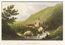 SCHULPFORTE - GESAMTANSICHT - Bechstein - kolorierter Stahlstich 1838