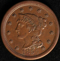 """1854 """"BRAIDED HAIR"""" LARGE CENT, VERY CHOICE AU, ORIGINAL GLOSSY BROWN SURFACES!"""