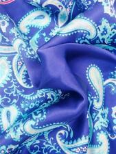 "SPRING SPECIAL!  New 14"" 100% Satin Silk Pocket Square  Duke Blue Paisley"