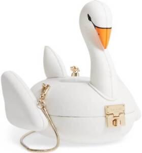 kate spade check in swan pool float lambskin leather bag handbag novelty purse