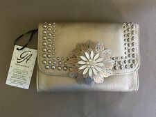 New Studded GRACE ADELE Gold Leather Clutch With Leather Flower Accessory