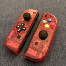 Nintendo Switch Joy Con Controller PAIR CUSTOM COLOUR with D-PAD - CLEAR RED