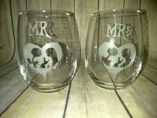 Mr Jack & Mrs Sally Wine Glasses - Nightmare Before Christmas Wedding
