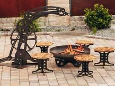 Feuerstelle Feuerplatz Feuerschale Industrie Gartenfeuer mit Grillrost & Hocker