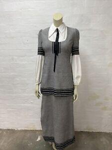 E5 Vintage 1970's Maxi Dress Dollyrockers Grey Black Cotton Wool Poly Size 8 10