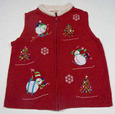 UGLY CHRISTMAS SWEATER VEST WOMENS L LARGE RED SNOWMEN SKIING HOLIDAY TREES