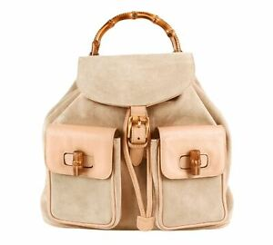 Authentic Gucci Vintage Brown Leather & suede Bamboo mini Backpack