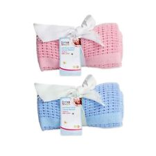 First Steps 100% Soft Cotton Cellular Baby Blanket Moses Basket Crib Pram Cot 70