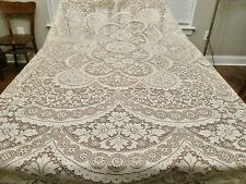 Nip Vintage Scranton Lace Tablecloth Quaker Style Flowers Picot Looped He 72x90