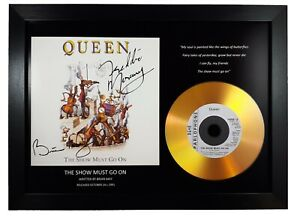 QUEEN 'THE SHOW MUST GO ON' SIGNED PHOTO GOLD DISC CD COLLECTABLE MEMORABILIA