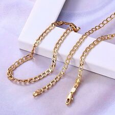 """9ct 9K Yellow """"Gold Filled"""" Curb Ring chain necklace 24"""" & Bracelet 7.5"""" Set."""