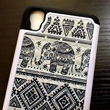 For LG X Power - HARD&SOFT DIAMOND BLING HYBRID ARMOR CASE Black Tribal Elephant