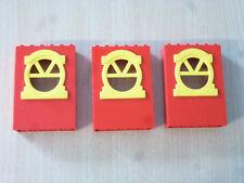 Baukästen & Konstruktion Lego x636c02  3x Fabuland Wand  2x6x7 rot mit gelben Fenster