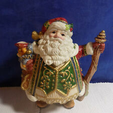 Fitz & Floyd Classics Santa / St Nick Tea Pot With Walking Stick Handle - Euc