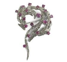 Vintage Pink Sapphire Gemstone Brooch Pin in 18K White Gold, 23.5 Grams
