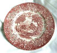 "Staffordshire-England 9 7/8"" Red Transfer Dinner Plate--CASTLES--Ironstone-NM"