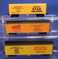 Lot of Advertising Reefer Box Cars - Vintage AHM & LL RTR HO Scale Train Cars
