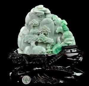 Certified A Grade Natural Jadeite Jade Carving Reclusive Life Statue Sculpture