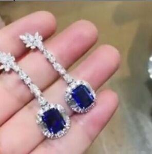 4.80Ct Emerald Cut Blue Sapphire Halo Drop & Dangle Earrings 14K White Gold Over