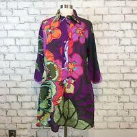Soft Surroundings Women's Purple Floral Bright Tunic Henley Shirt Size Large