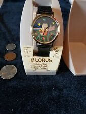DISNEY_VINTAGE_NOS_NIB_SEIKO by LORUS_MICKEY MOUSE_HOLOGRAM WATCH_ LEATHER BAND