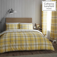 Catherine Lansfield Duvet Set Reversible Check Bedding Ochre Pillowcase Curtains