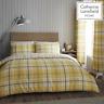Catherine Lansfield Duvet Set Reversible Check Bedding Ochre Pillowcase Curtains
