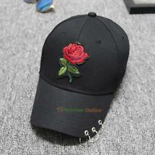 Fashion Baseball Cap Hat Adjustable Flower Embroidery Iron Ring Snapback Caps