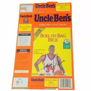 Uncle Ben's Rice Autographed Box Olympic Hakeem Olajuwon 1990s Limited Edition