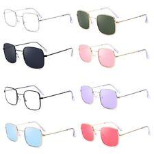 Vintage Men Women Square Sunglasses Protection Goggles Colored Lens Glasses
