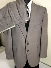 Vtg Evan-Picone Men MoD Gray Light Pink Blue Windowpane Wool Suit 44 R 40/29