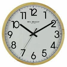 Wooden Large Clear Numbered Wall Clock 30cm Diameter Light Wood