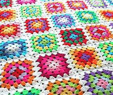 Handmade Retro White MultiColoured Granny Square Crochet Baby Blanket Nursery