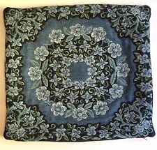 """Tapestry Pillow Cover Blue Floral Wreath Best of Flanders 16"""" x 17.75"""" Cotton"""