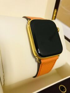 Luxury 24K Gold Plated Apple Watch 5 44mm GPS+LTE + Luxury Box - Hermes Style