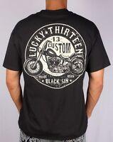 LUCKY 13 BLACK SIN MOTORCYCLE CUSTOM CHOPPER ROCK BIKER PUNK GOTH T SHIRT S-4XL