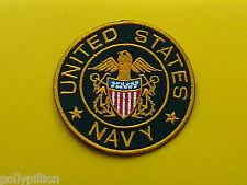 MILITARY BIKER SEW ON / IRON ON PATCH:- UNITED STATES NAVY (b) DARK YELLOW DISC