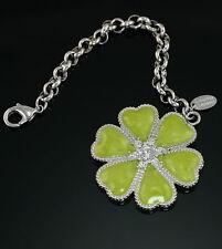"Heart Crystal 1.5"" Lanyard Chain Necklace Lauren G. Adams Green Enamel Clover"