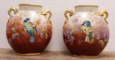 Jean Pouyat, Paire De Vases Fleurs Et Mésanges, Porcelaine De Limoges, XIX ème