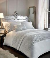 Zenia Shimmer Sequins Single Bed Duvet Cover Set - White
