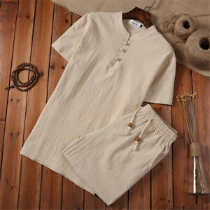 Men Summer Outfit 2-Piece Set Short Sleeve T Shirts and Shorts Cotton Linen Suit