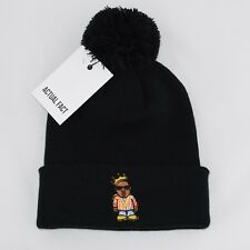 Actual Fact Biggie Coogi Cartoon Roll Up Bobble Pom Pom Black Beanie Hat